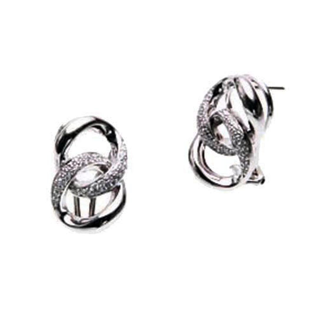 OWC Sterling Silver Dbl Curb Link Clip Earring W.dia by OWC Jewelry
