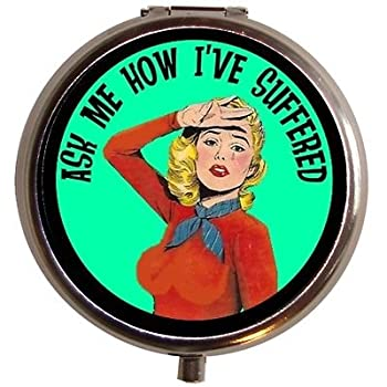 Ask Me About Suffering Retro Humor Pill Box Pillbox