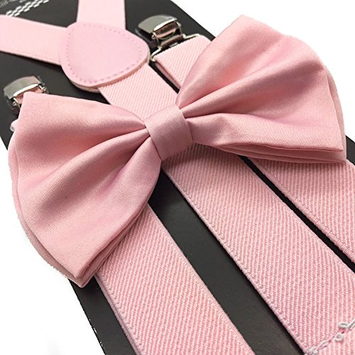4everstore Unisex's Bow Tie & Suspender Sets (Blush/Wedding