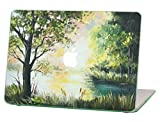 Macbook Air 11 inches Rubberized Hard Case for model A1370 & A1465, Oil Painting Summer Morning Design with Green Bottom Case, Come with Keyboard Cover