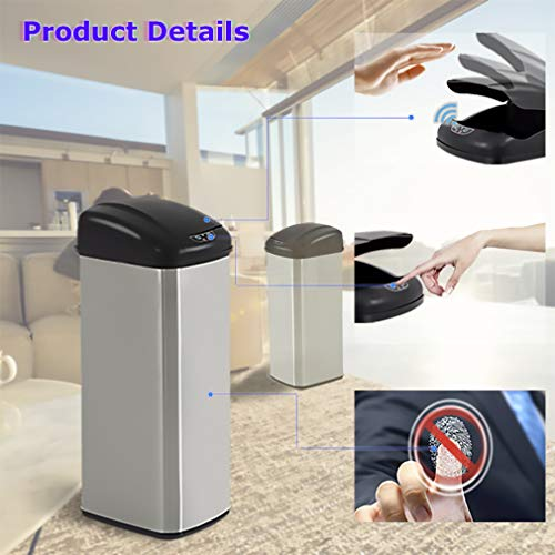 BestOffice Kitchen Trash Can Garbage Stainless Steel for Home Office Bathroom with Lid Touch Free Automatic Waste Bin 13 Gallon / 50L, 1 Pack, SS by BestOffice (Image #3)