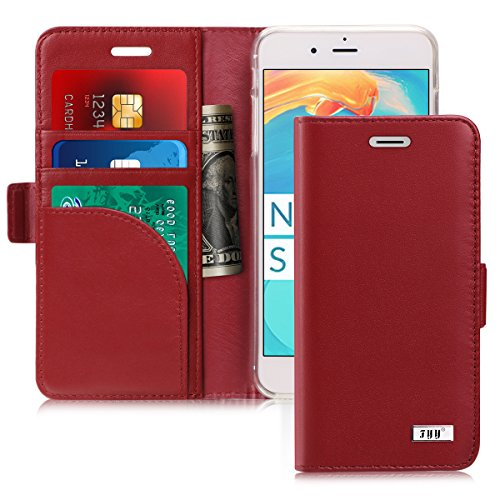FYY [Genuine Leather] Wallet Case for Apple iPhone 8 Plus 2017/iPhone 7 Plus 2016, Handmade Flip Folio Wallet Case with Kickstand Card Slots Magnetic Closure for iPhone 8 Plus/iPhone 7 Plus Wine Red