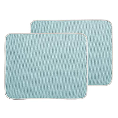 mDesign Kitchen Countertop Absorbent Dish Drying Mat - Pack of 2, Large, Aqua Blue/Ivory ()