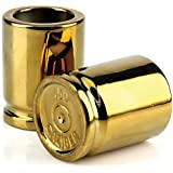 (Set of 2) 50 Caliber 2 Ounce Shot Glasses - Gold Colored Glossy Finish