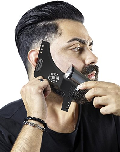 Beard Shaping Tool – Set of 2 – Black & Transparent – 8 in 1 Facial Hair Trimming Guide and Comb Grooming Shaper – Best Stencil for Curve/Step/Straight Cut, Sideburns, Mustache, Goatee