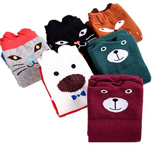Amao Girls Socks 8 Pairs Cotton Over Calf Knee High Socks Animal Cat Fox Socks by Amao