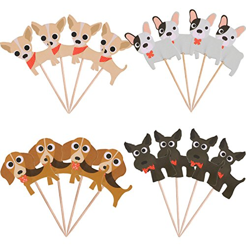 BBTO 48 Pieces Cute Dog Cupcake Toppers Cake Toppers Cupcake Picks for Fruit and Birthday Party Cake Decoration