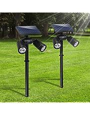 [Upgraded 300 Lumen] Gartenleuchten 6LED Außenbeleuchtung Weißes Helle Solarleuchten Verstellbare Lampen für Boden Wände Wasserdicht Spotlight für Garten Outdoor Landscape Yard Rasen Pathway (1P)