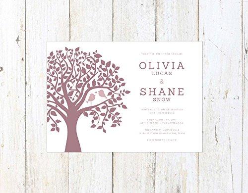 Cute Wedding Invitation, Birds in a Tree Wedding Invitation, Kissing Birds Invitation, Mauve and Marsala Wedding by Alexa Nelson Prints