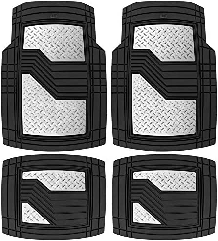 Caterpillar CAT Black & Silver Rubber Floor Mats All Weather for Car Truck SUV & Van Total Protection Durable Trim to Fit Liners Heavy Duty Odorless