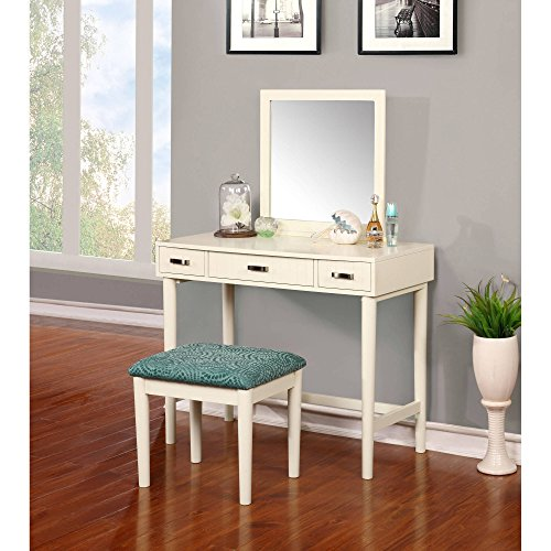 Vanity, Cream with Green Bench and Mirror, Stationary Upright Mirror, 3 Drawers For Ample Storage Space, Straight Lined Silver Pulls Accent the Fronts of Each Drawer, Some Assembly Required (Large Vintage Cream Mirror)