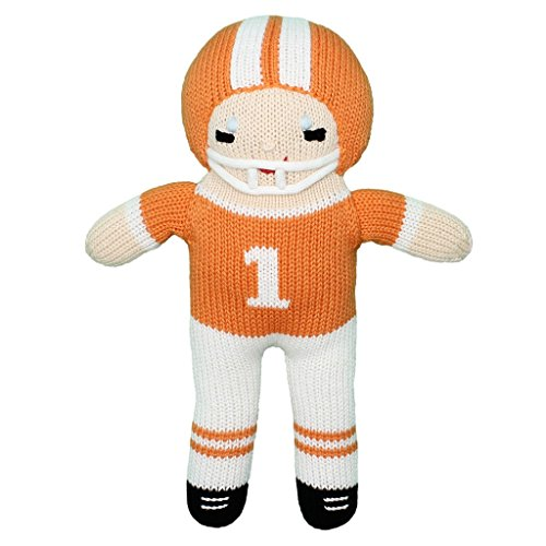 Zubels Baby Boys' Hand-Knit Football Player Plush Toy, All-Natural Fibers, Eco-Friendly, 12-Inch, Orange & White -