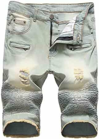3ced495670 Enrica Men's Casual Zipper Biker Jeans Shorts Moto Denim Short Pants