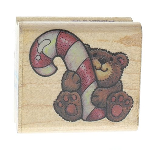 Teddy Bear Rubber Stampede Teddy Bear with Candy Cane Wooden Rubber (Dragonfly Teddy Bear)