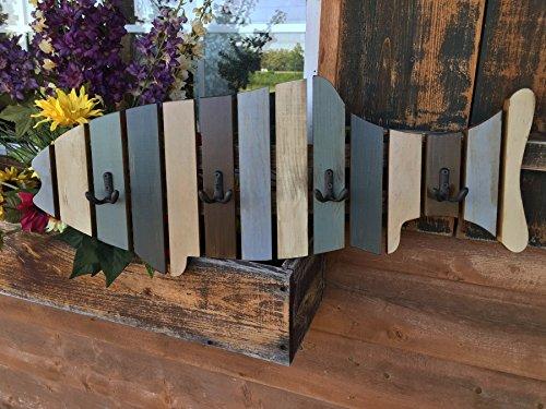 (Coatrack FISH with metal hooks Shaped Fish Coat Rack Stained BLUE Nautical Lake Beach Ocean Sea Wall Home Decor)