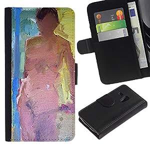 [Neutron-Star] Modelo colorido cuero de la carpeta del tirón del caso cubierta piel Holster Funda protecció ParaSamsung Galaxy S3 MINI i8190 (NOT S3) [Mujer desnuda Pintura Ley desnuda]