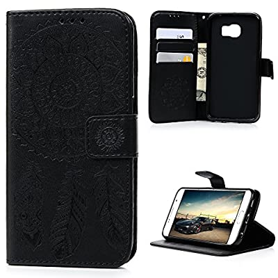 Galaxy S6 Case, YOKIRIN Embossed Dream Catcher Campanula Feather Pure Color PU Leather Wallet Bumper Cover with Foldable Kickstand Stand Magnetic Closure Card Holder for Samsung Galaxy S6