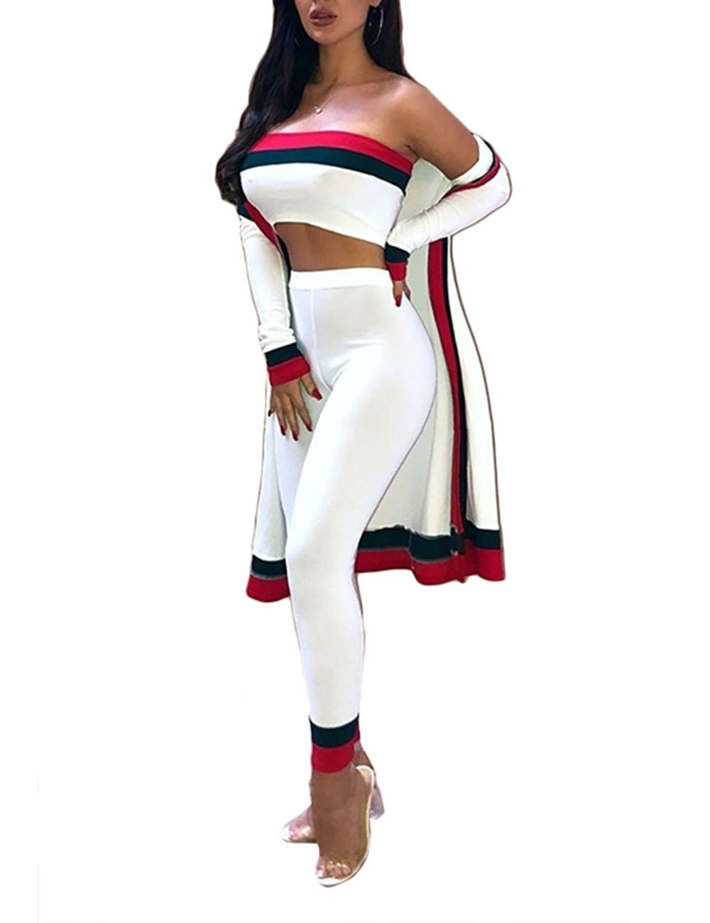 Off Shoulder Crop Tops Bodycon Pants Cardigan Coat 3 Piece Stripe Patchwork Set