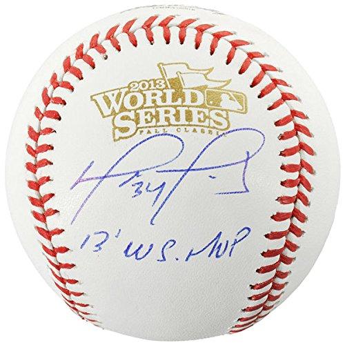(DAVID ORTIZ Boston Red Sox Autographed 2013 World Series Logo Baseball with 2013 WS MVP Inscription FANATICS)