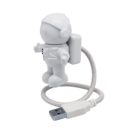 symboat Mini lámpara de lectura USB Tubo ordenador portátil Pure White Spaceman portátil Astronaut LED Night
