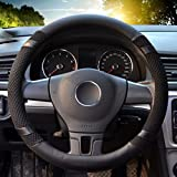 "Image of Universal Steering Wheel Cover,14.56-14.96"" PU Leather for fit Summer Honda/Toyota Car Vehicle Black,M"