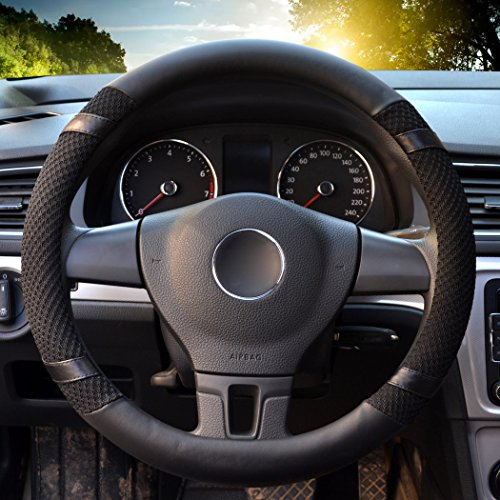 "Universal Steering Wheel Cover,14.56-14.96"" PU Leather for fit Summer Honda/Toyota Car Vehicle Black,M Image"