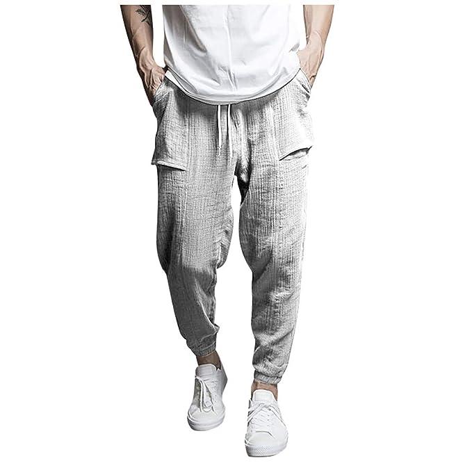 il migliore prezzi al dettaglio design innovativo Ginli Pantaloni di Lino Uomo Baggy Casual Pantalone Pinocchietti ...