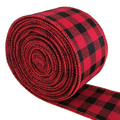 Kenkio 1.9 inch Wide Burlap Fabric Craft Ribbon Red and Black Plaid Christmas Ribbon Wired Ribbon Wrapping Ribbon for Christmas Party Decorations