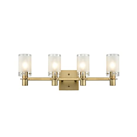 los angeles d605f 06be0 AXILAND Gold Plating Bath Vanity Light Wall Sconce Fixture with Frosted  Glass Shade