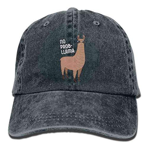 (VISIONAA Adult Retro Washed Dyed Cotton Adjustable Jean Caps No Prob-Llama Cool Llama with Sunglasses Trucker Hats)