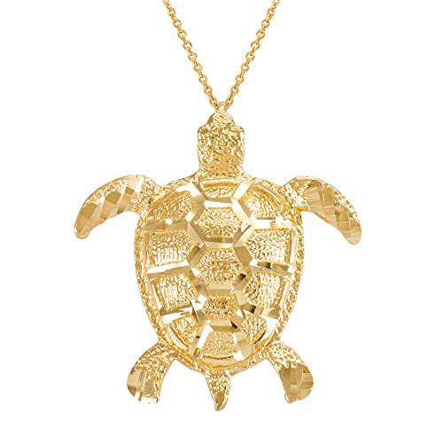 14k Yellow Gold Turtle Pendant (Textured 14k Yellow Gold Good Luck Sea Turtle Pendant Necklace, 22