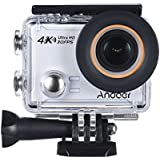 4K Action Camera, Andoer AN100 WIFI Sports Action Video Camera 30MP 1080P/120fps 2.0 IPS Screen 170° Wide Angle Waterproof 45m cam Support Gyro G-sensor FPV External Mic with Hard Case (Silver)