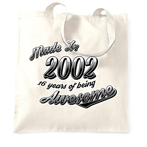 16th Birthday Shopping Bag Made 2002 16 Years Being Awesome White