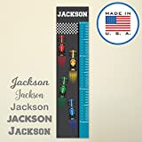 321Done Personalized Hanging Growth Chart, Race Cars with Name, Kids Height Ruler Vinyl Banner, Auto Racing Formula One Boys Nursery Wall Decor, Made in USA