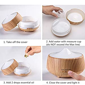 Aromatherapy Essential Oil Diffuser, FLYMEI 250ml Ultrasonic Cool Mist Whisper Quiet Aroma Humidifier with 7 Color Changing LED Lamps,Timer Settings, Auto Shut-Off for Home Office Spa - Wood Grain