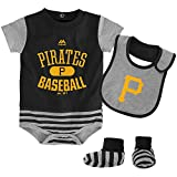 Pittsburgh Pirates Black Grey Stripe Newborn/Infant Pennant Bodysuit, Bib and Bootie Set