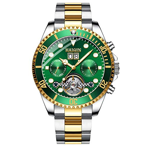 Emerald Mens Watch - Haiqin Men's Mechanical Watches Automatic Tourbillon Stainless Steel Analog Waterproof Wrist Watch for Men (Green)