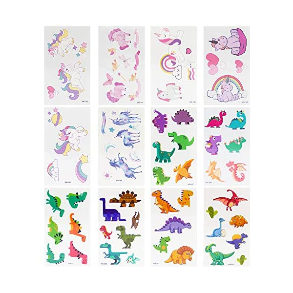 LITTLE SIENA Dinosaur Unicorn Temporary Tattoos for Kids Boys Girls Children | Birthday Decorations, Party Favors, Party Supplies - 12 Sheets 5