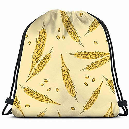 Ears Wheat Hand Drawn Oats Drawstring Backpack Gym Dance Bags For Girls Kids Bag Shoulder Travel Bags Birthday Gift For Daughter Children Women