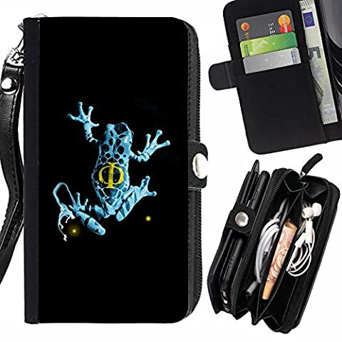 GOD CASE FOR HTC ONE M8 Blue Fringe Frog Wallet Purse Pouch Holster Leater & Soft TPU (Htc One M8 Case Frog)
