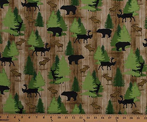 Moose Trail Lodge - Cotton Northwoods Animals Moose Bears Deer Wildlife Pine Trees Evergreens on Brown Cabin Wood Moose Trail Lodge Cotton Fabric Print by The Yard (D571.65)
