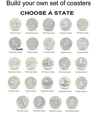 State Drink Coasters by McCarter Coasters, Choose A State Set, Absorbent, Light Beige 4.25 inch (4pc)