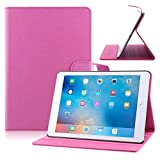 TOPCHANCES Slim Mordern Smart Cover Case for the iPad Air, iPad 5 with Auto Sleep/Wake Function Built in Stand-Green Embossed Flowerss Case (Rose Red Silk)