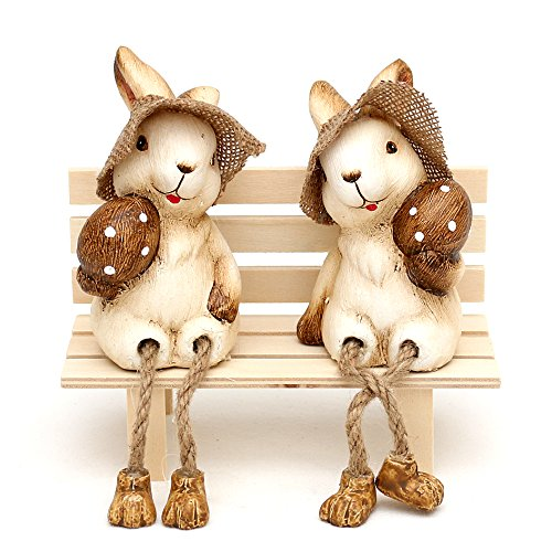 Gnomo Stube collezione di ceramica con coniglietto di peluche gambe 18x 6x 7cm–Set da pezzi Wichtelstube-Kollektion