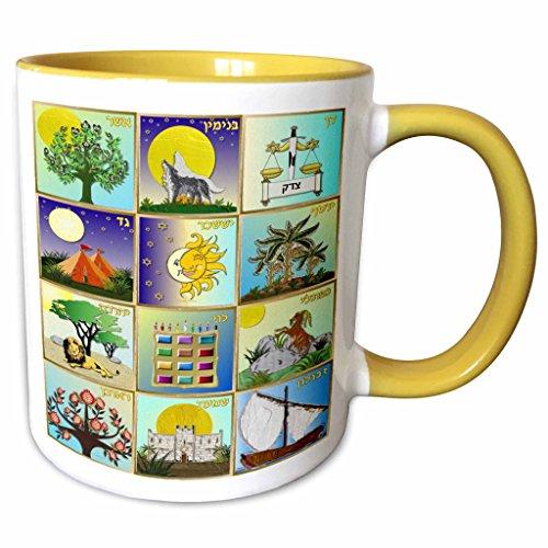 3dRose Lee Hiller Designs Judaica - 12 Tribes of Israel Art Print - 15oz Two-Tone Yellow Mug (mug_107255_13)