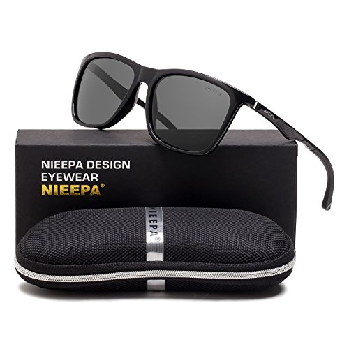 44e906a0790 Square Polarized Sunglasses Aluminum Magnesium Temple Spring Hinges  Wayfarer Style Sun Glasses Men Women Classic Retro. Brand  NIEEPA