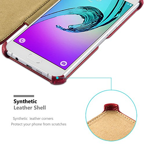 Cadorabo - Funda Estilo Libro para Samsung Galaxy A3 (6) (Modelo 2016) en Diseño Slim Waist con Función de Soporte SIN Cierre Magnético �?Carcasa Cintura Etui Case Cover Caja Protección Cubierta Prote ROJO-PASIÓN