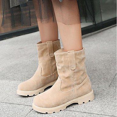 1 amp;xuezi Leatherette Bootie Gll Heels Career 3 Low Beige 1in Heel Casual Novelty Ruby Office Spring amp; Bowknot Comfort Winter Black beige Women's 4in Rw8qpFwnd