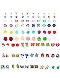 Finrezio 48 Pairs Multiple Cute Stud Earrings for Women Girls Fake Pearl Crystal Flower Ball Animals Ear Piercing Earrings Set