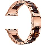 Apple Watch Bands 38mm Women Men- V-Moro Luxury Rose Gold Stainless Steel iWatch Bands Strap with Resin Wristbands Bracelet for Apple iWatch Series 3,2,1,Sport,Hermes (Tortoise, 38mm(5''-7.87''))